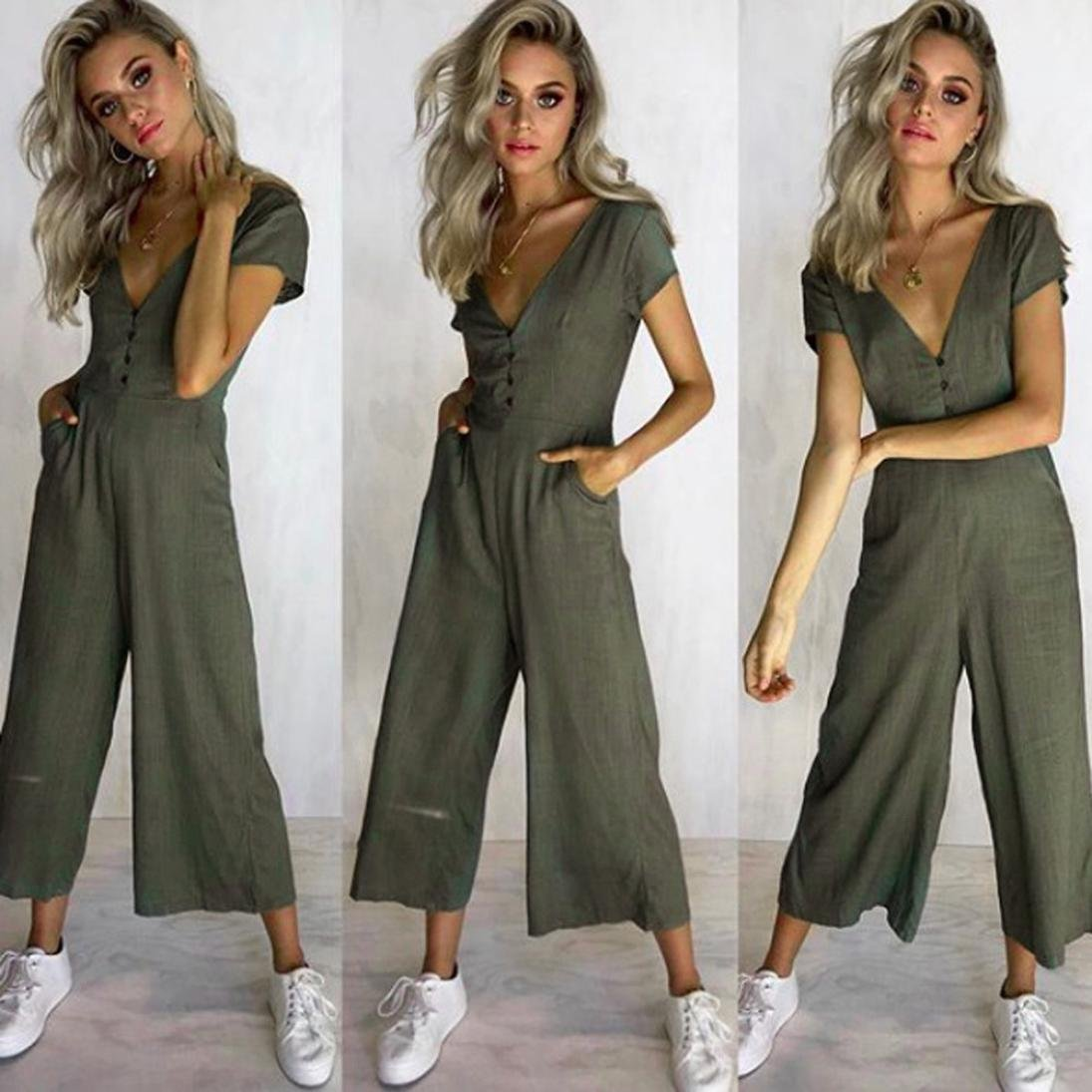 Dreaman Womens Summer Casual V-Neck Sexy Short Sleeve Strappy Holiday Long Playsuits Trouser Jumpsuit Romper (Khaki, l)