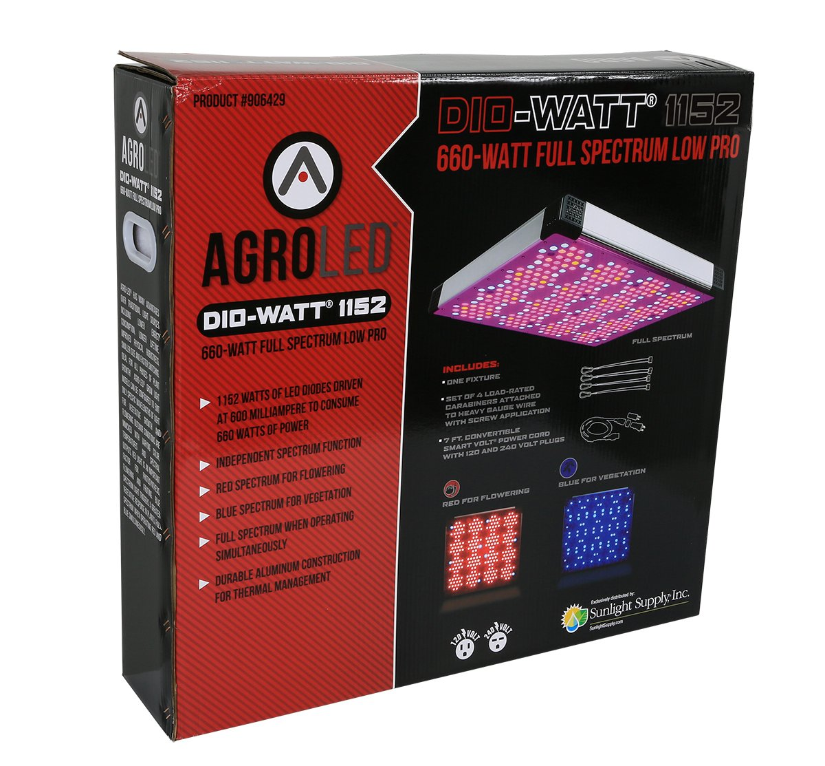 AgroLED Dio-Watt 1152, 660W Full Spectrum Low Pro 906429 Dio-Watt LED Grow Light by AgroLED Dio-Watt 1152, 660W Full Spectrum Low Pro (Image #1)