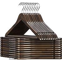 SONGMICS Houten kleerhanger, voor pakken, set van 20, massief houten kleerhanger, inkepingen in schouderpartij, anti…
