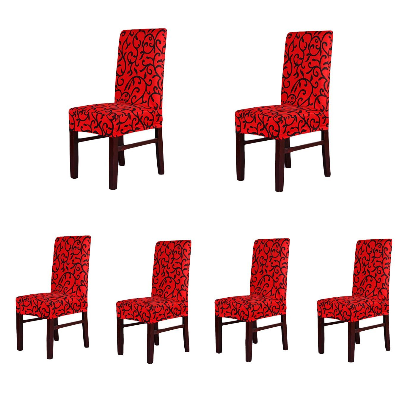 (Redblack) - 6 x Soft Fit Stretch Short Dining Room Chair Covers, Printed Pattern, Banquet Chair Seat Protector Slipcover for Party Hotel Wedding Ceremony (RedBlack) レッドブラック B01CPE9V9Y