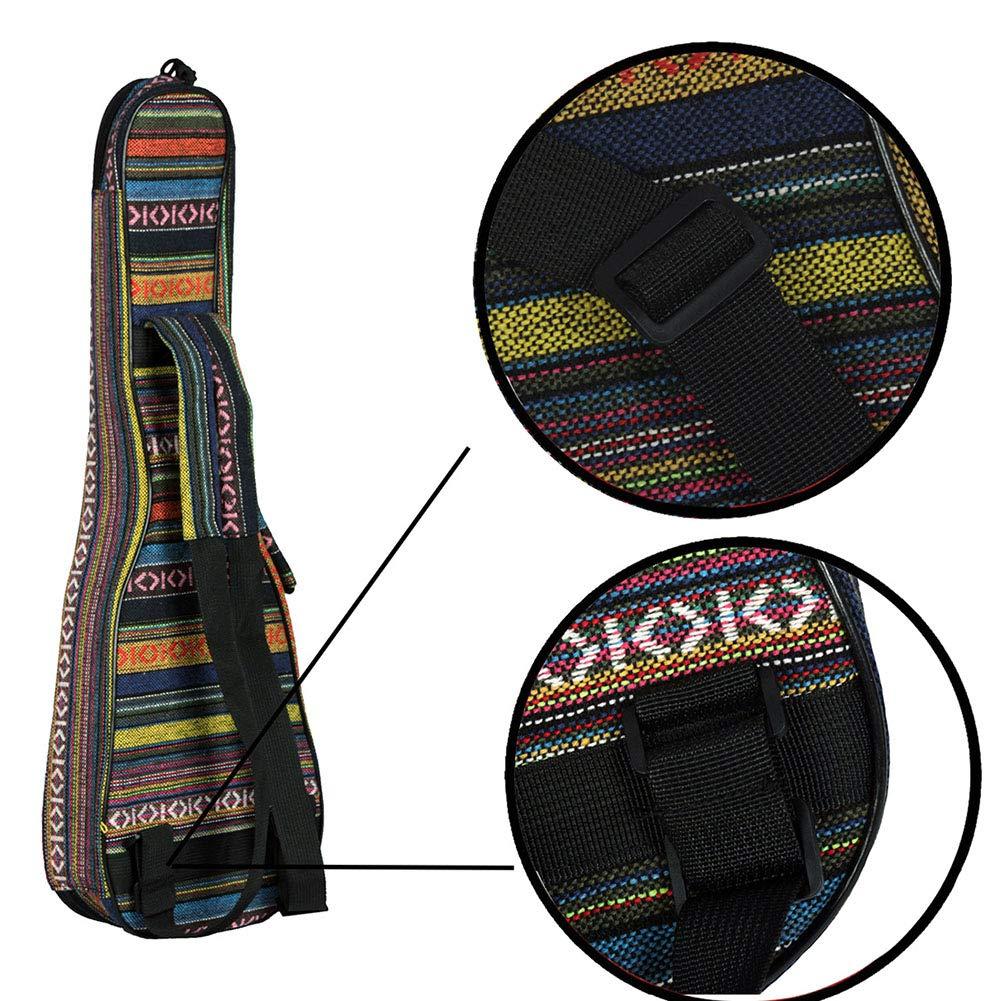 Amazon.com: Leoie 23 pulgadas de estilo nacional ukelele guitarra mochila suave coj\u00edn engrosamiento de algod\u00f3n cubierta de la caja Ukelele: ...