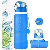 HiKeep BPA-Freie Faltbare Trinkflasche, medizinisches Silikon 750ML Wasserflasche, Tragbar, Auslaufsichere und Fda Geprüft für Outdoor, Reisen, Radfahren