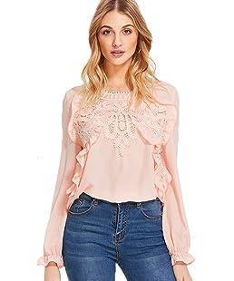 Romwe Women's Elegant Long Sleeve Applique Keyhole Ruffle Blouse Tops Pink X-Small