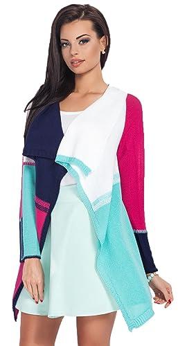 Glamour Empire cárdigan ligero en cascada - rayas colour block - para mujer 353
