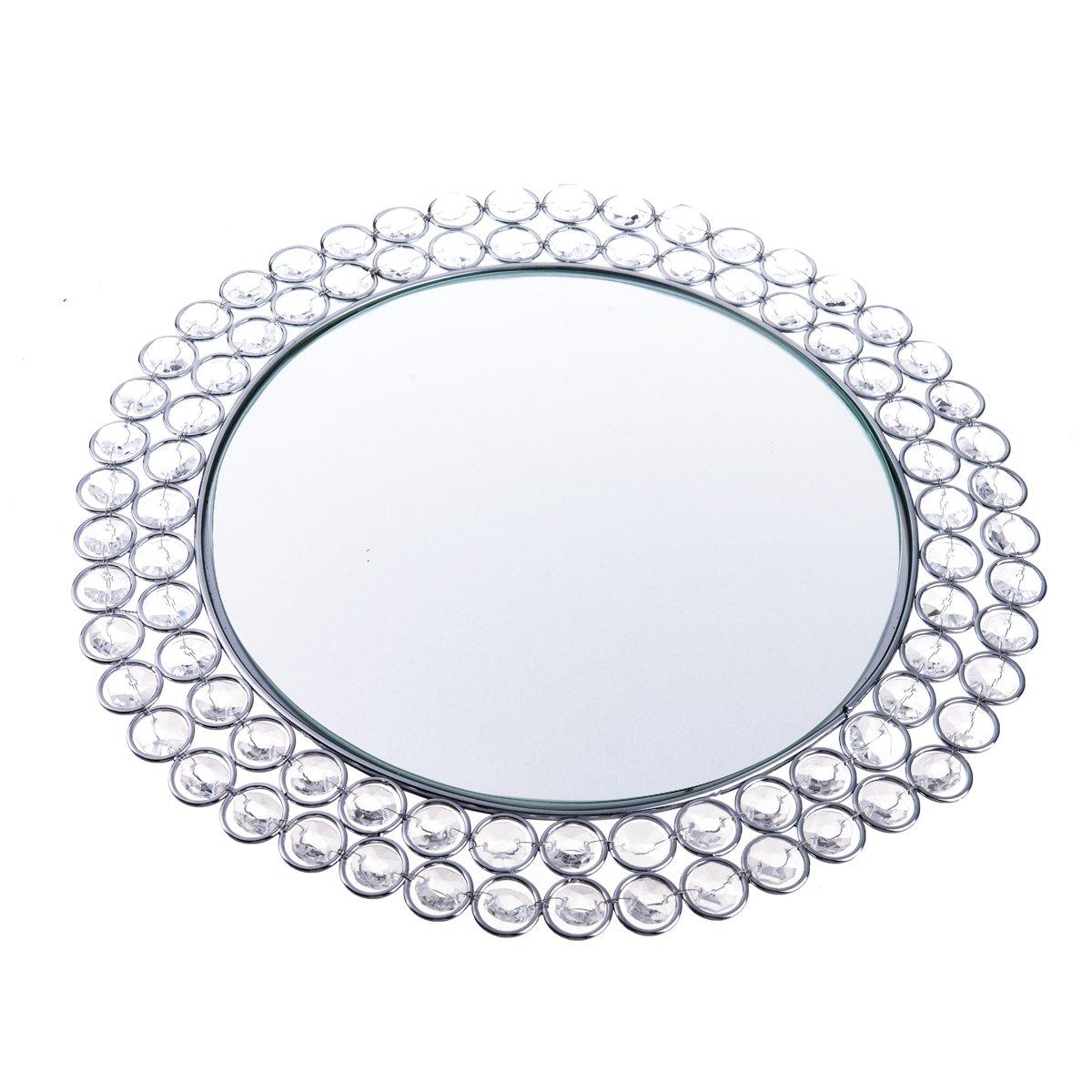 Feyarl Crystal Mirrored Jewelry Tray Cosmetic Organizer Vanity Tray Decorative Tray (Silver) by Feyarl (Image #2)