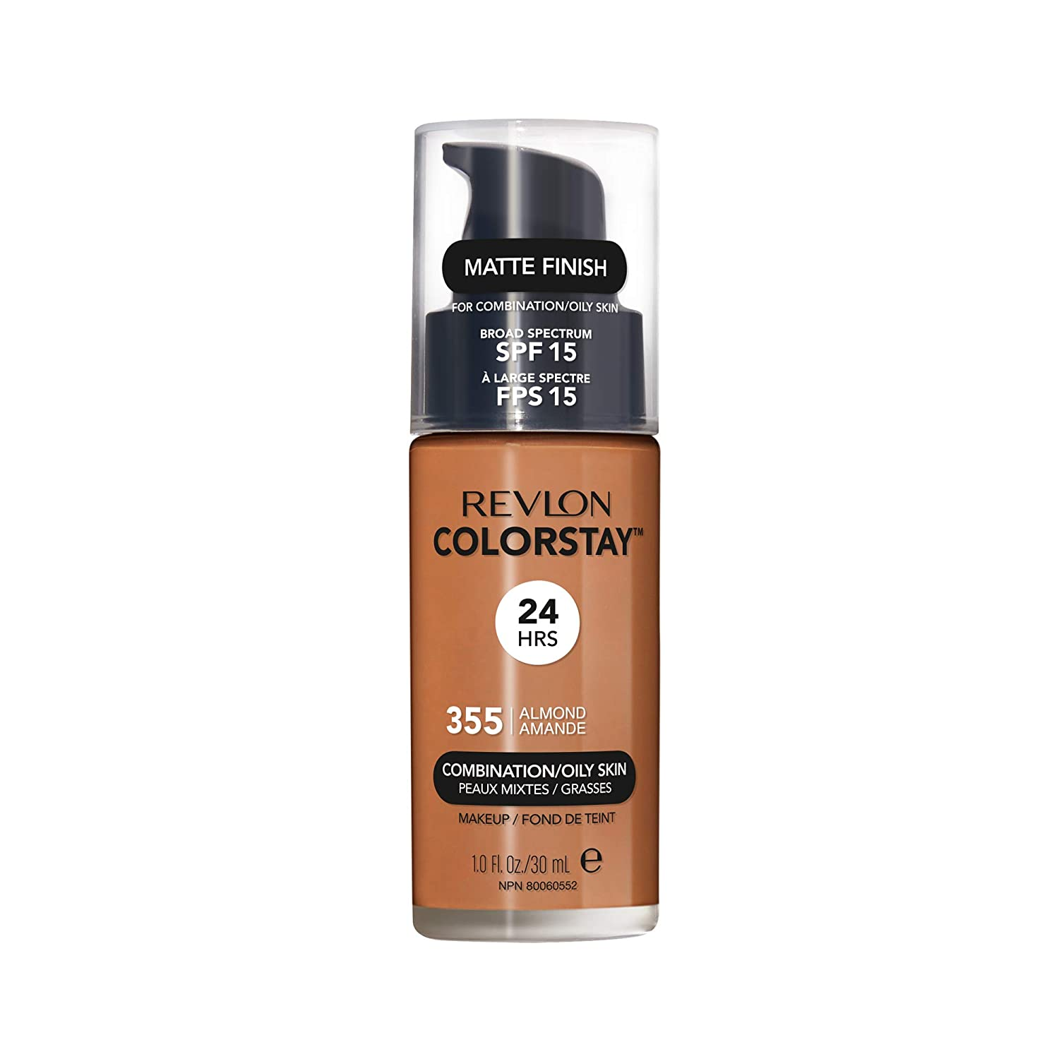 Revlon ColorStay Makeup for Combination/Oily Skin SPF 15, Longwear Liquid Foundation, with Medium-Full Coverage, Matte Finish, Oil Free, 355 Almond, 1.0 oz