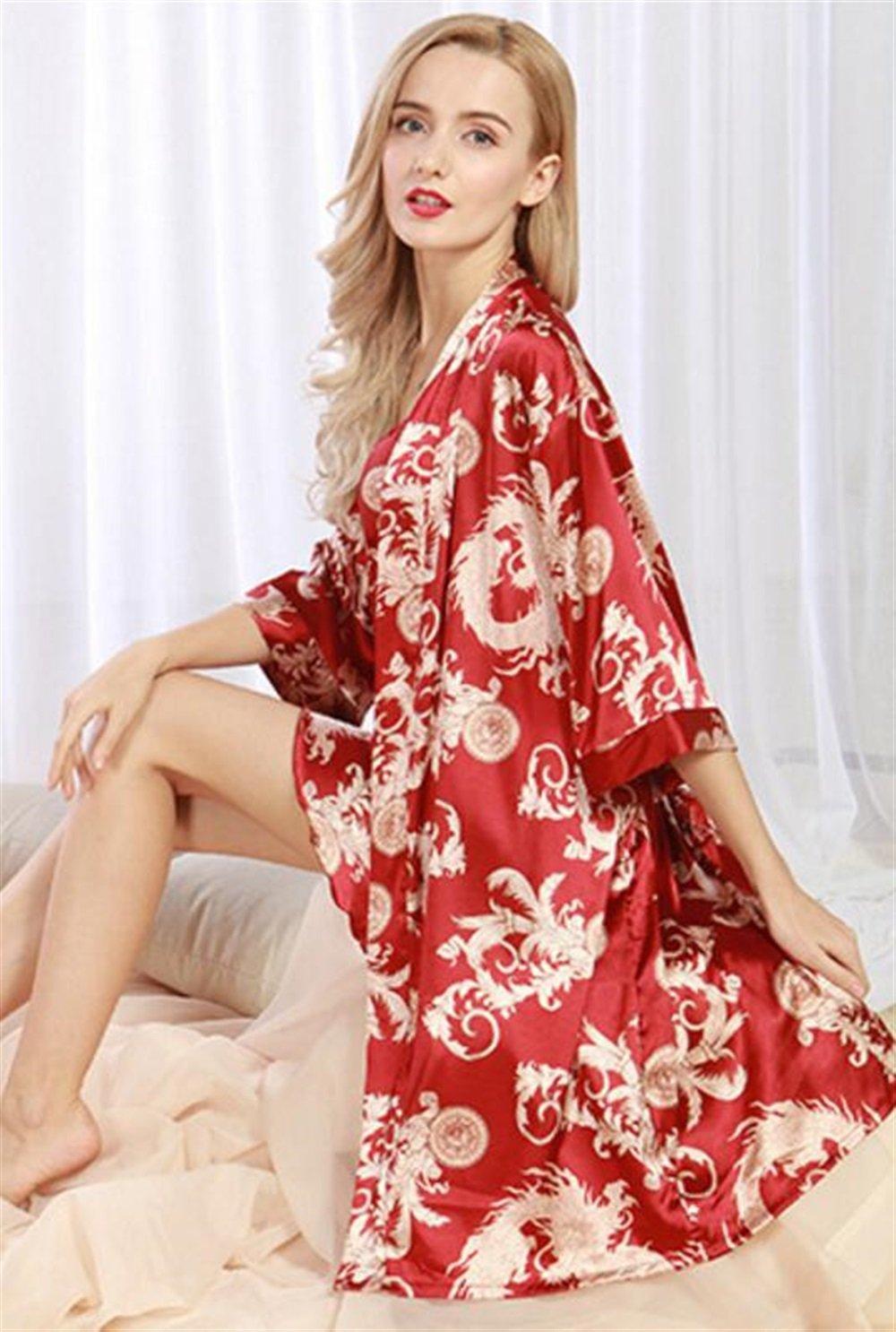BOBOJW - Albornoz de Manga Media para Mujer, diseño de dragón, Rojo Vino, Large: Amazon.es: Hogar