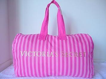 Amazon.com: Victoria's Secret Pink Stripe Canvas Travel Duffle Gym ...