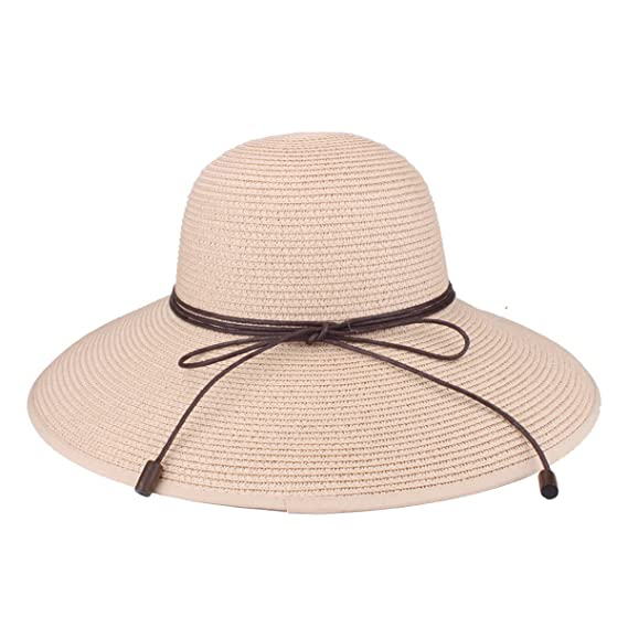 bcf8cd2a6 Floppy Hat Summer Beach Sun Straw Hats Anti-UV Protection Hat Travel  Packable UPF 50+ Foldable Wide Brim Hat Travel Packable Cap for Women