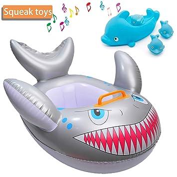 Bebé flotador natación con asiento Bebé recién nacido Anillo de tiburón Cuidado de la piel PVC Entrenamiento para bebés Piscina para niños Piscina o ...