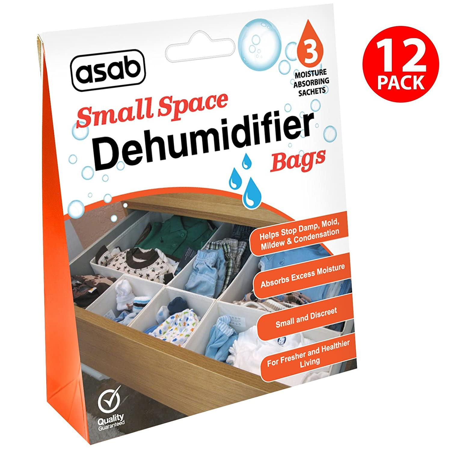 Drawers Dehumidifying Sachets ASAB Wardrobe Dehumidifier Bags 1 Pack Wet Remover Humidity Catcher Damp Absorber with Crystals Small Spaces Moisture Trap 3 Bags