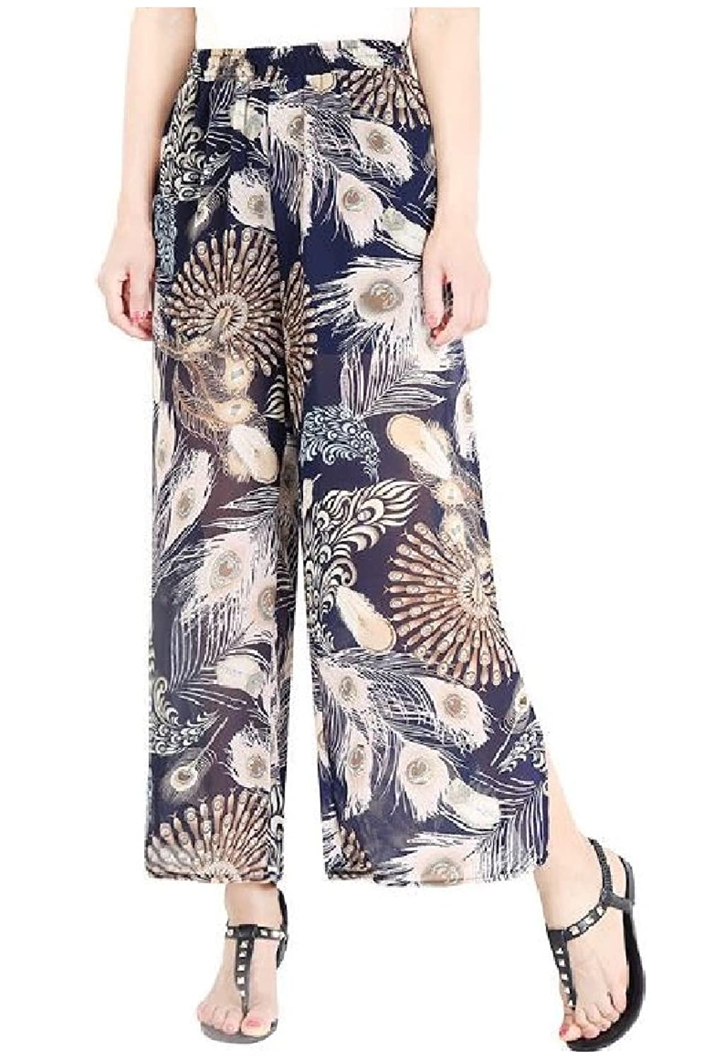 Abetteric Womens Elastic-Waist Chiffon Casual Oversize Cozy Floral Printed Side Split Straight Breathable High Waist Palazzo Wide Leg Pants