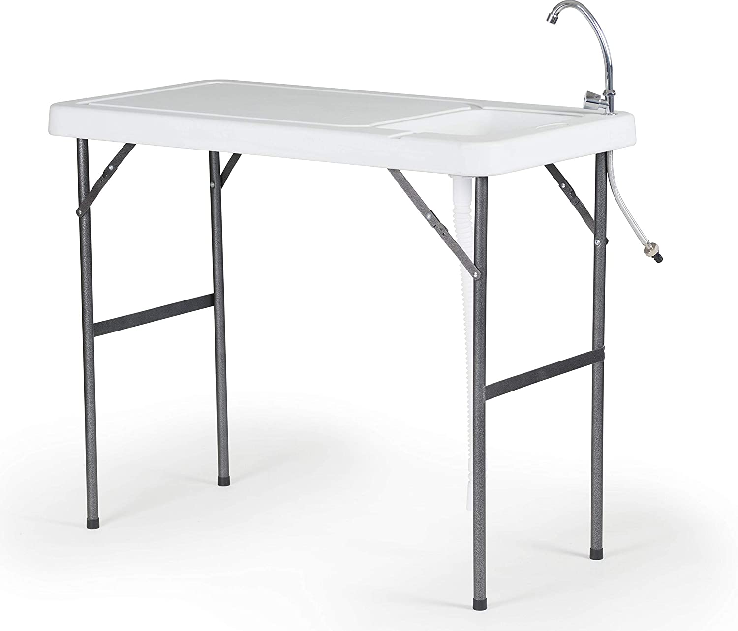Old Cedar Outfitters Lightweight Folding Fillet Table with Locking Legs, Drain Assembly and Faucet, FT-001, White,Basic