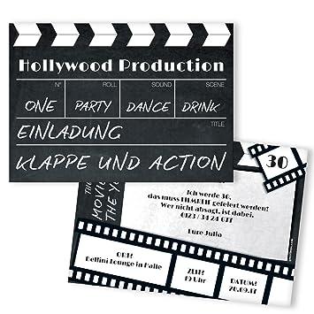 Schön Einladungskarten Geburtstag Als Filmklappe | 20 Stück | Inkl. Druck Ihrer  Texte | Individuelle Einladungen