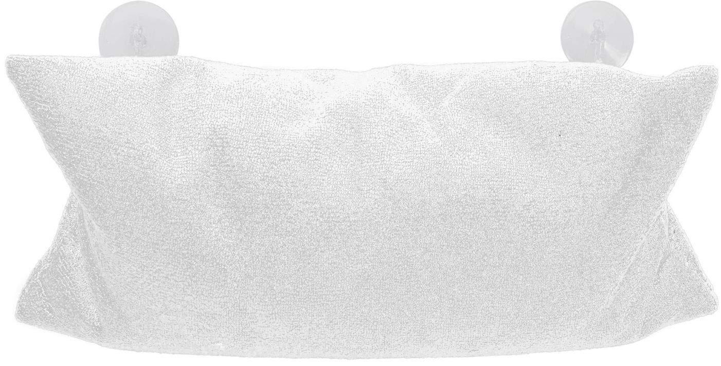 Spetebo Mikrofaser Badewannenkissen 37x17 cm in grau mit Bezug und Saugn/äpfen