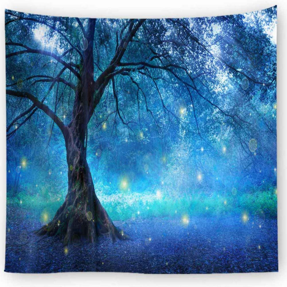 Lanterns and Lamps Hanging on A Tree Branch Decorative Backyard Party Illustration KRWHTS Magic Home Decor Collection Bedroom Living Room Dorm Wall Hanging Tapestry