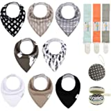 Babygoal Baby Bandana Drool Bibs 8 Pack with 3pcs Pacifier Clips+One Pacifier Case, Sets for Boys and Girls 8BB01