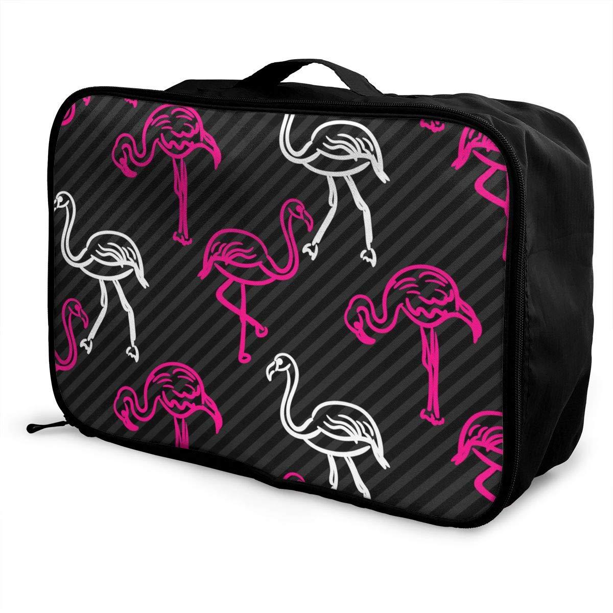 ADGAI Black and Pink Striped Flamingo Bird Canvas Travel Weekender Bag,Fashion Custom Lightweight Large Capacity Portable Luggage Bag,Suitcase Trolley Bag