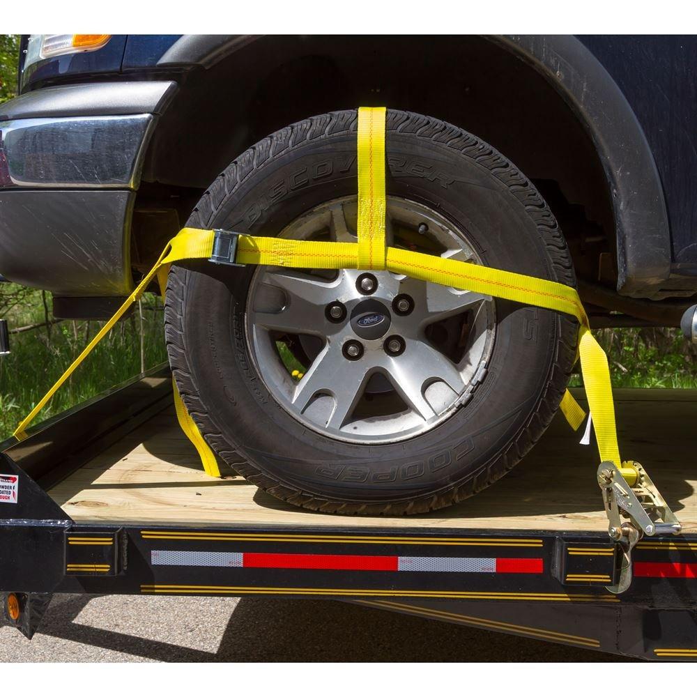 4-Pack Auto Hauler 16 Tire Wheel Bonnet Cam Adjustable Tie-Down Strap