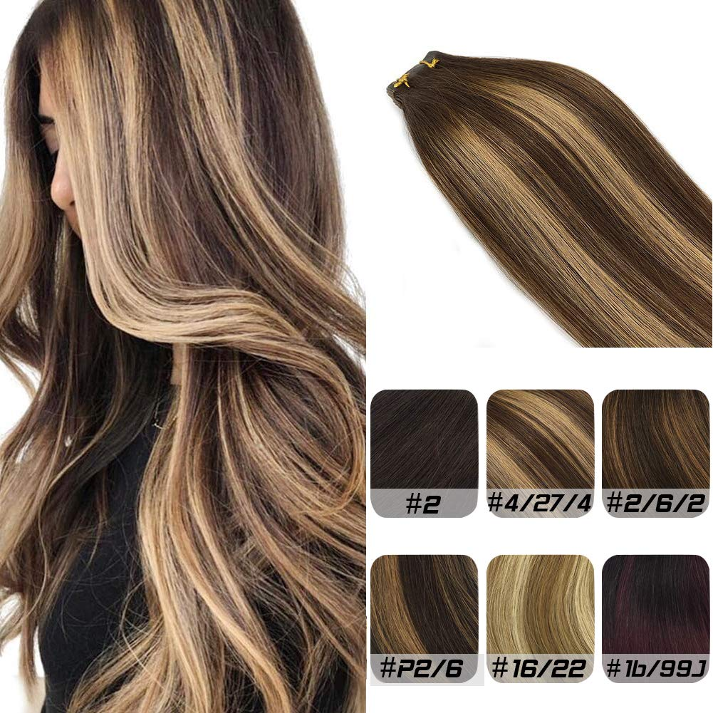 Labhair Tape In Hair Extensions Real Remy Human Hair Extensions Chocolate Brown Mixed Honey Blonde Highlighted Tape in Human Hair Extensions 20pcs/50g 18inch by LAB·EH