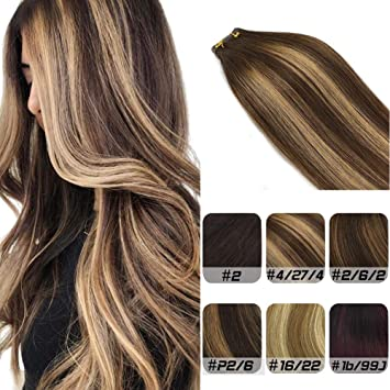 Labhair Tape In Hair Extensions Human Hair Straight Multi Color Chocolate Brown Mixed Honey Blonde