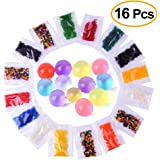 Kuuqa Water Beads, Water Growing Balls Vase Filler for Wedding and Party Decoration 16 Pack 12 Colors
