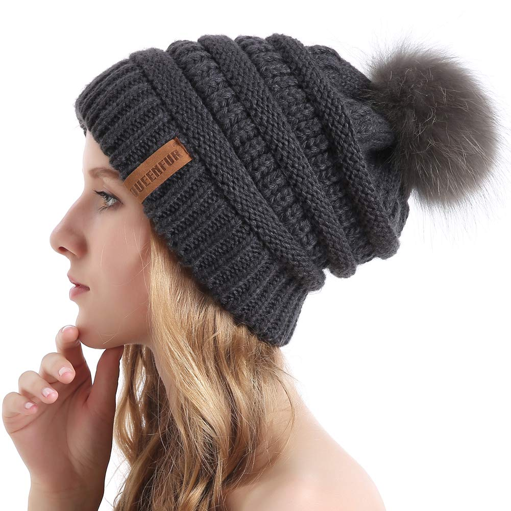 Queenfur Knit Slouchy Beanie for Women Thick Baggy Hat Faux Fur Pompom Winter Hat QFHK1802BEI