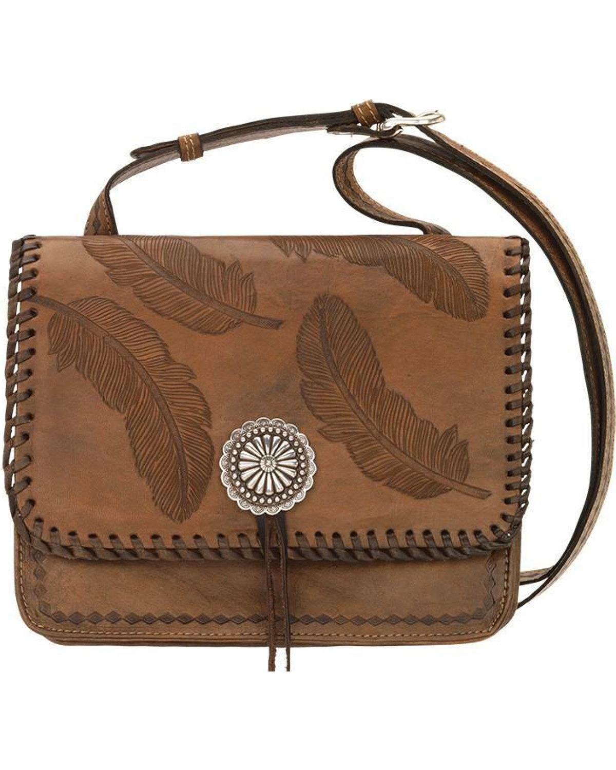 American West Women's Sacred Bird Feather Crossbody Purse Distressed Brown One Size by American West