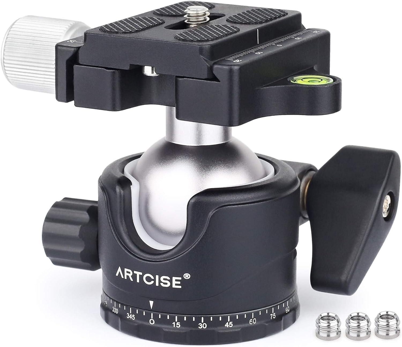 40mm Universal Arca Plate Included Small Highline Tripod Ballhead with 50lb Load Capacity Tripod Ballhead for Mirrorless Camera Setups Small-Green