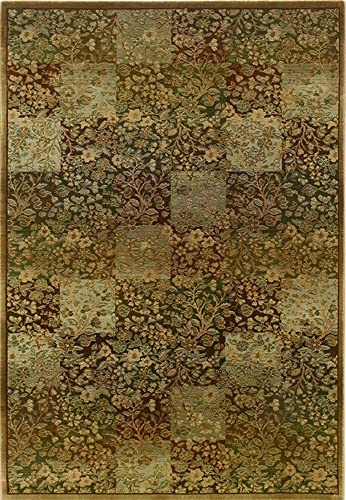 Oriental Weavers Floral Area Rug in Green and Gold 4 ft. 5 in. L x 2 ft. 3 in. W