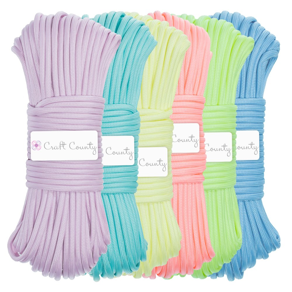 Craft County Glow in The Dark Zesty 21 Strand Luminous 550 Paracord – Variety of Vibrant Colors Available – Choose from 10ft, 25ft, 50ft, 100ft – Perfect for DIY Bracelet, Lanyard, DIY Crafts