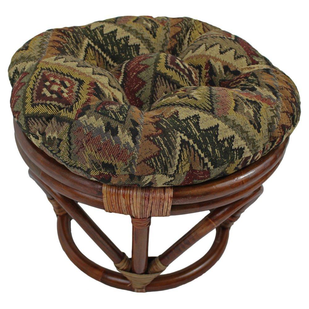 International Caravan 3301-TP-46-IC Furniture Piece Rattan Footsool with Tapestry Cushion