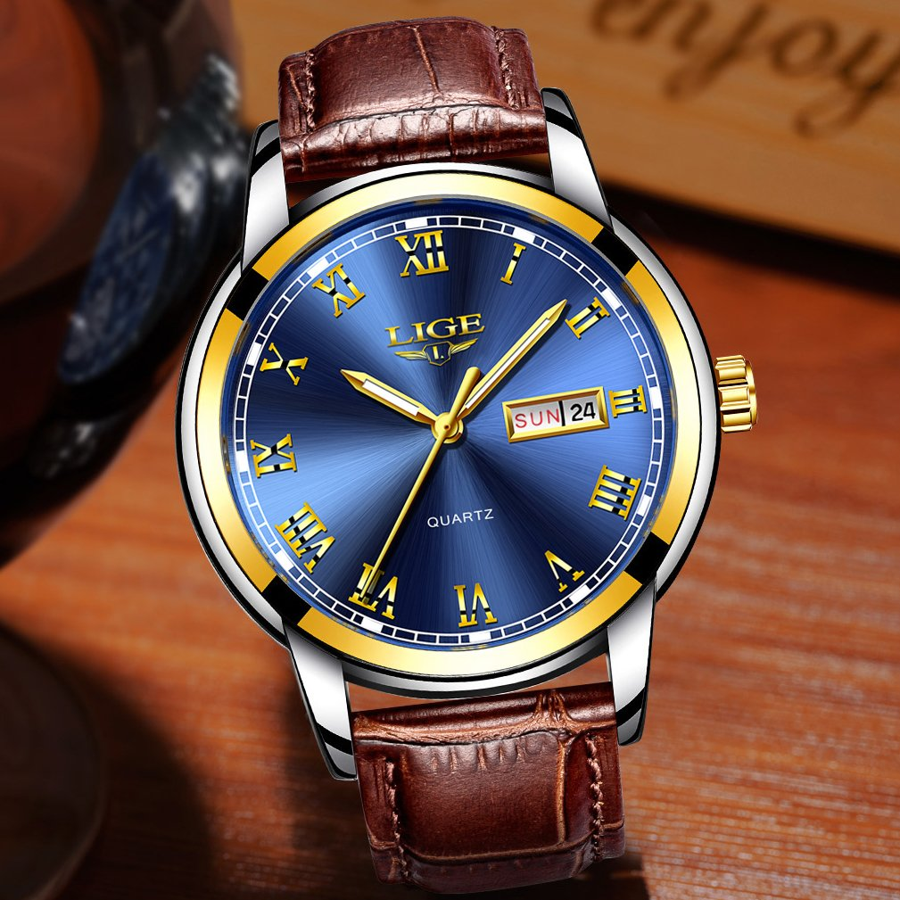 Amazon.com: Mens Sport Quartz Watch Roman Numeral Fashion Analog Luminous Wristwatch with Calendar Date,Waterproof 30M Water Resistant Comfortable Leather ...