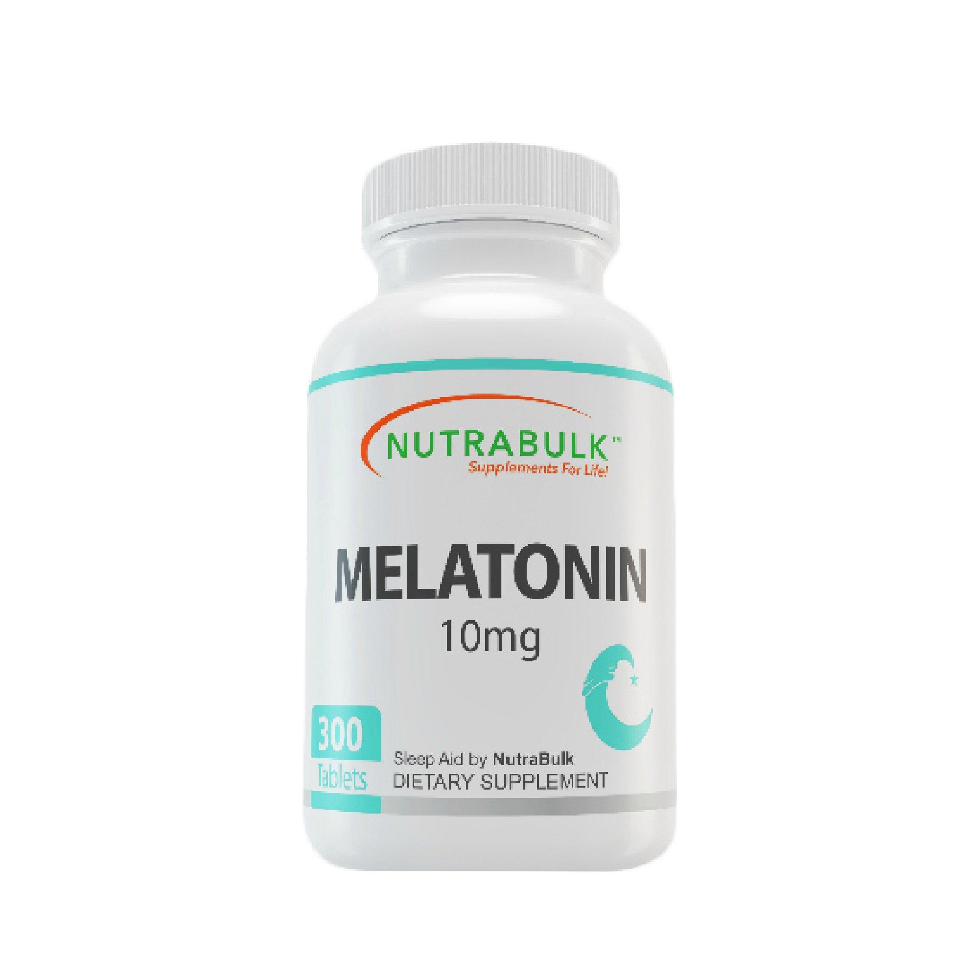 NutraBulk Melatonin 10mg - 300 Tablets – Quick Release Natural Nighttime Sleep Aid