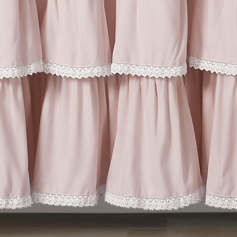 Lush Decor 16T002873 Lace Ruffle Shower Curtain 72 x 72 Blush 72 x 72 Triangle Home Fashions