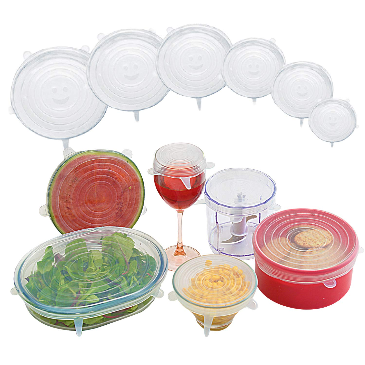 Silicon stretch lids, food storage covers - Multi-purpose, Re-usable, Flexible, Expandable and Durable - dishwasher, microwave, freezer and refrigerator safe. Fits pots, pans, Tupperware boxes, cans,