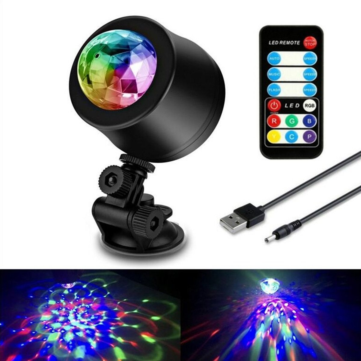 HENGJIA Activated LED Disco Ball Stage Lights with Remote Control - Strobe Lamp 7 Modes Stage RBG Disco Ball,USB Port LED Atmosphere Dj lights,KTV Xmas Party Wedding Rotate Magic crystal ball lights