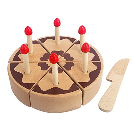 Amazoncom Todolibro Childrens Wooden Cake Cutting Play Toy Set