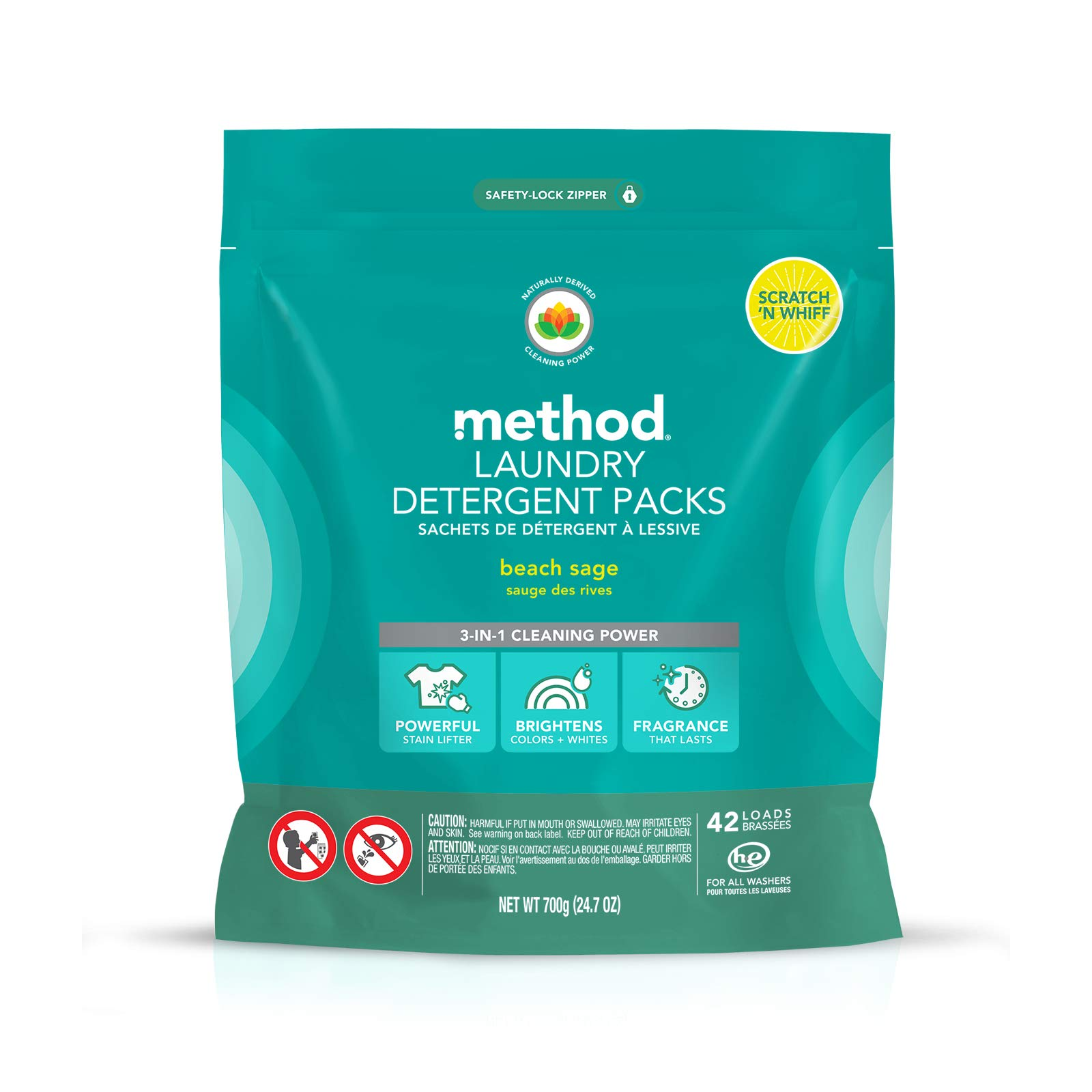 Method Laundry Detergent Packs, Beach Sage, 42 Loads by Method