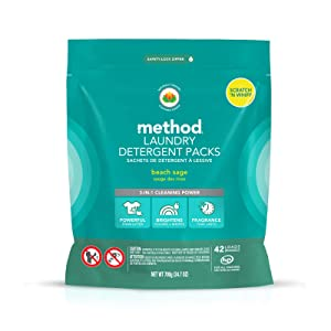 Method Laundry Detergent Packs, Beach Sage, 42 Loads