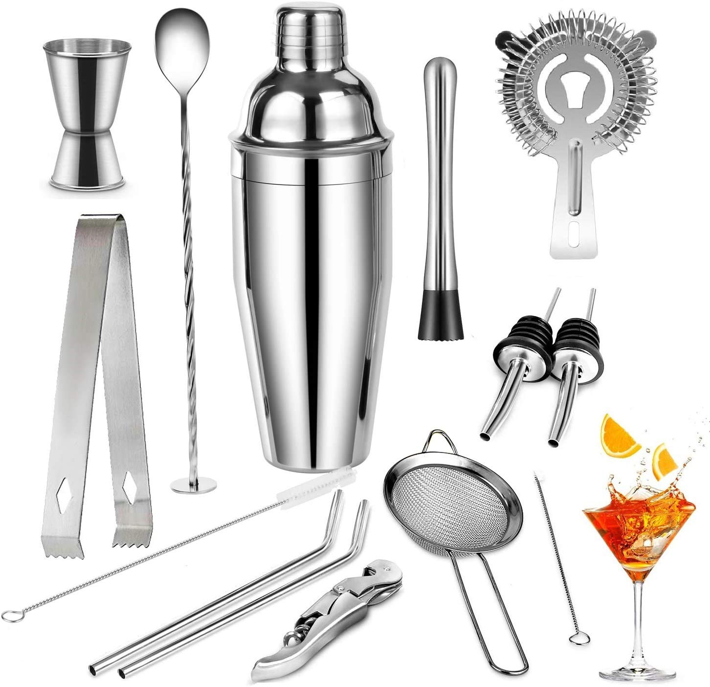 Cocktail Set,Cocktail Making Set 13Pcs, Cocktail Shaker Set,Bartending Kit Stainless Steel Cocktail Bar Tools,Large Drink Mixer Kits,Perfect Home Bartending Kit(750ML)