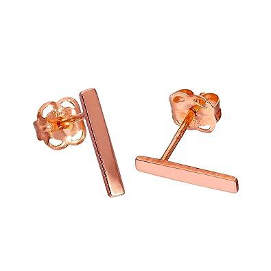 Line Bar Studs 9ct rose gold Earrings hy50R07XyA