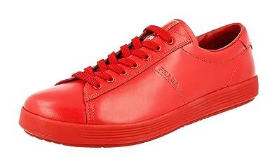 5379433906cd Prada Men s 4E2860 Red Leather Sneaker EU 9 (43)   US 10