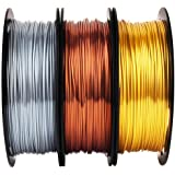 Shiny Silk Gold Silver Copper PLA Filament Bundle, 1.75mm 3D Printer Filament, Each Spool 0.5kg, 3 Spools Pack, with One…