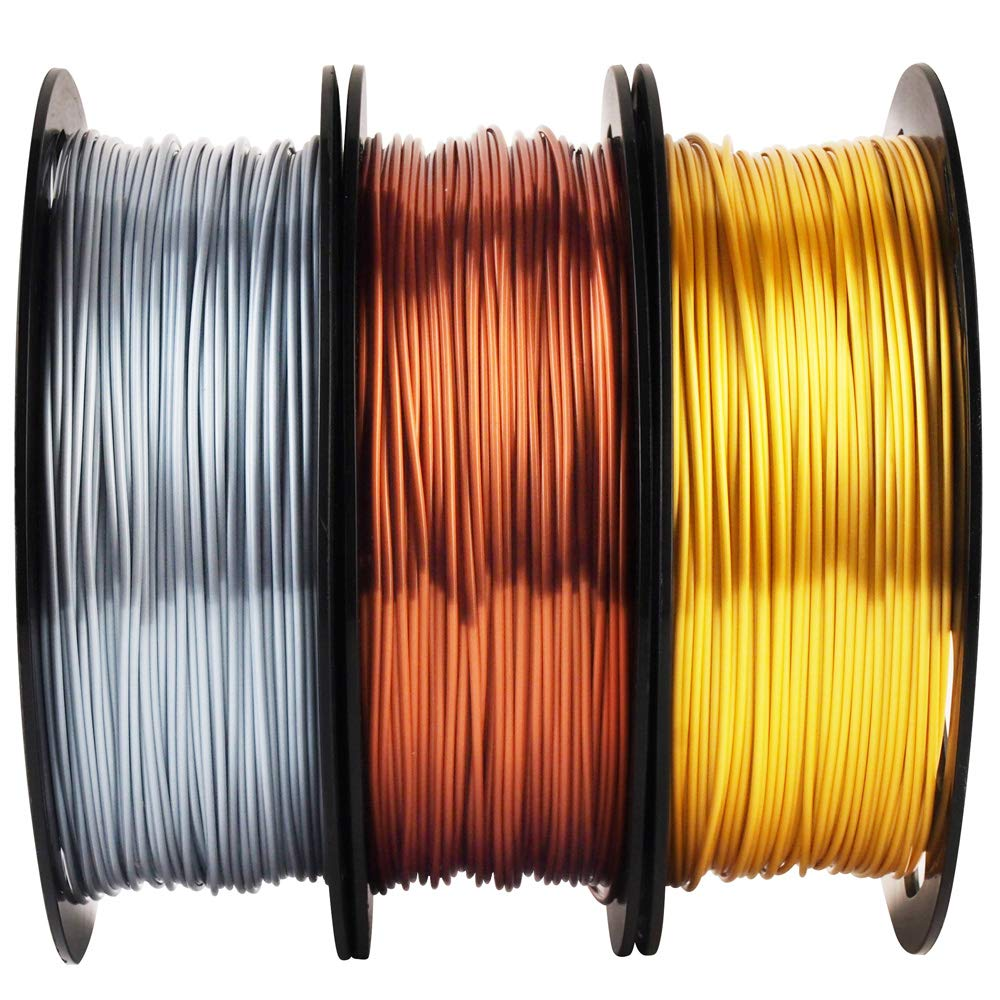 Shiny Silk Gold Silver Copper PLA Filament Bundle, 1.75mm 3D Printer Filament, Each Spool 0.5kg, 3 Spools Pack, with One 3D Printer Remove or Stick Tool MIKA3D