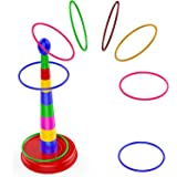 """Quoits Ring Toss Game for Kids,18"""" Colorful Plastic Detachable Ring Toss Toy Suitable for All Age Indoors 