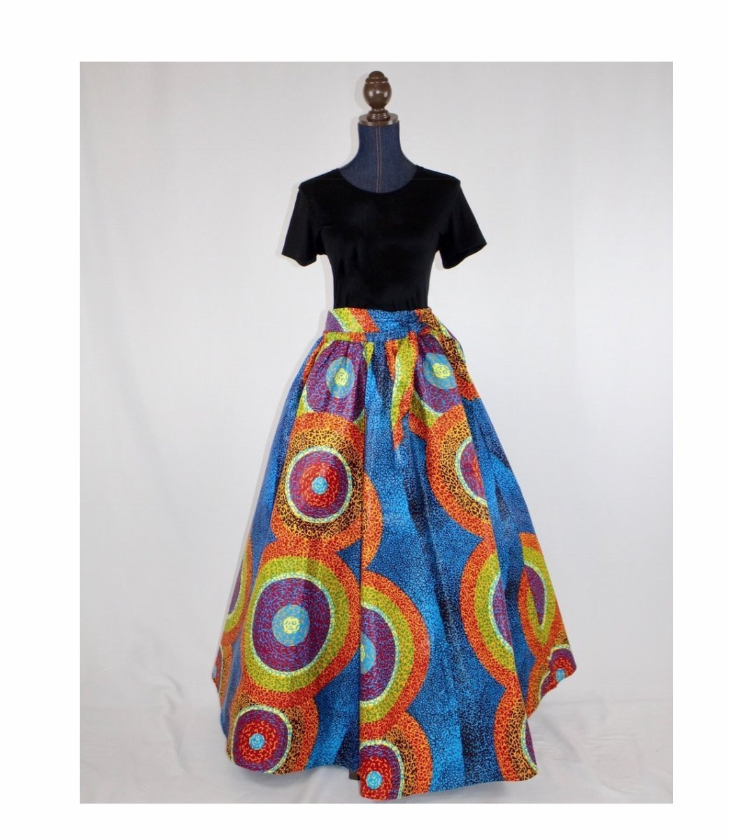 African Medallion Circles Maxi Skirt - Plus Sizes Available