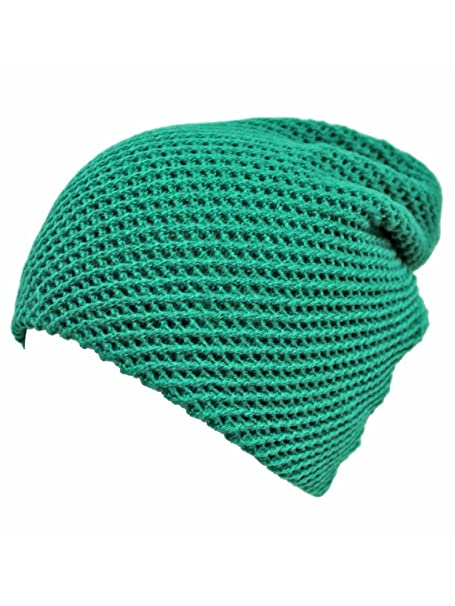 Green Waffle Knit Slouchy Beanie Cap Hat at Amazon Women s Clothing store   Skull Caps 3ee0c8d3851