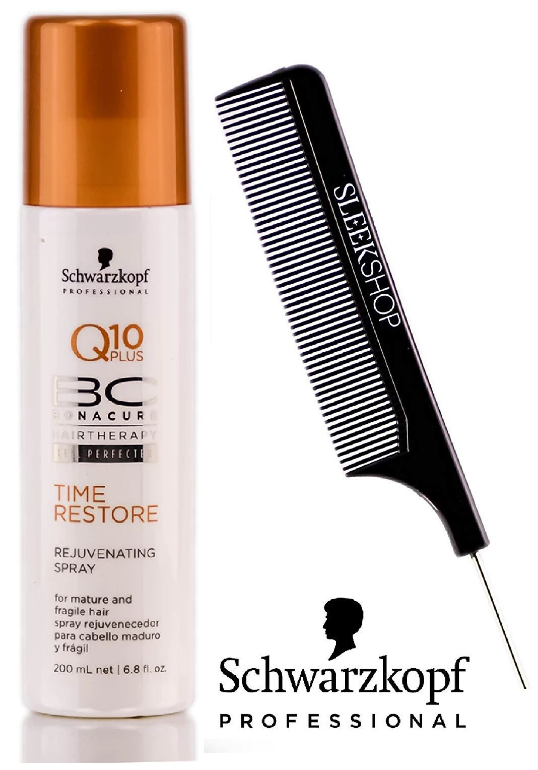 Schwarzkopf BC Bonacure Q10 PLUS Time Restore REJUVENATING SPRAY for MATURE AND FRAGILE HAIR (with Sleek Steel PIn Tail Comb) Leave In Conditioner (6.8 oz / 200 ml)