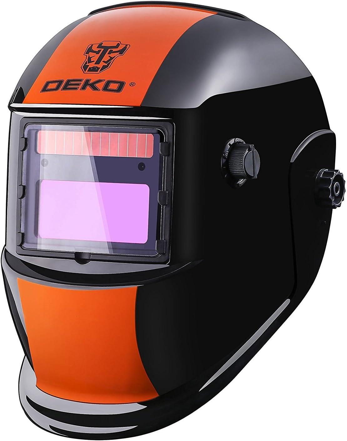 DEKOPRO Welding Helmet Solar Powered Auto Darkening Hood with Adjustable Shade Range 4//9-13 for Mig Tig Arc Welder Mask Shield Flaming Skull Design